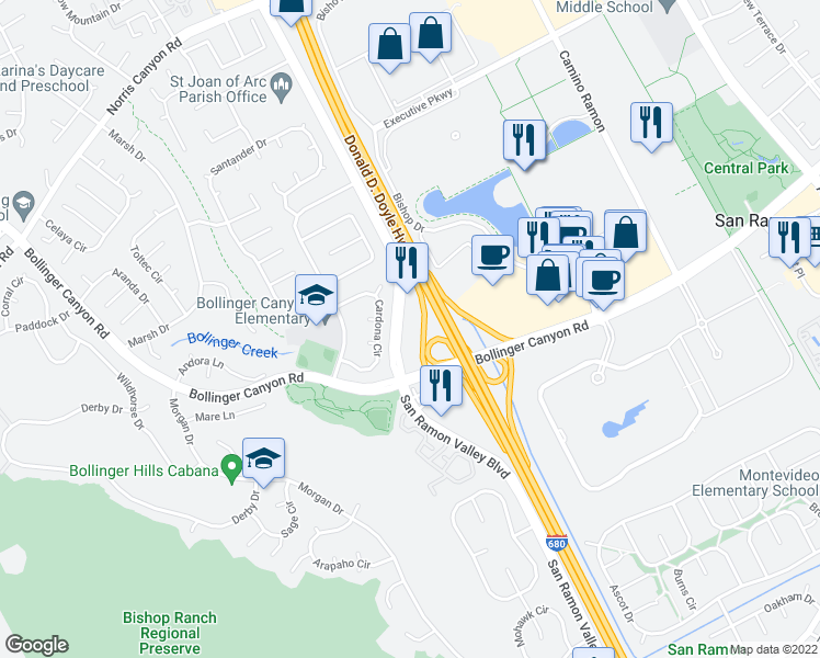 map of restaurants, bars, coffee shops, grocery stores, and more near 18000 San Ramon Valley Boulevard in San Ramon