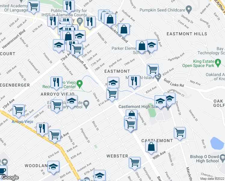 map of restaurants, bars, coffee shops, grocery stores, and more near 8030 Atherton Street in Oakland