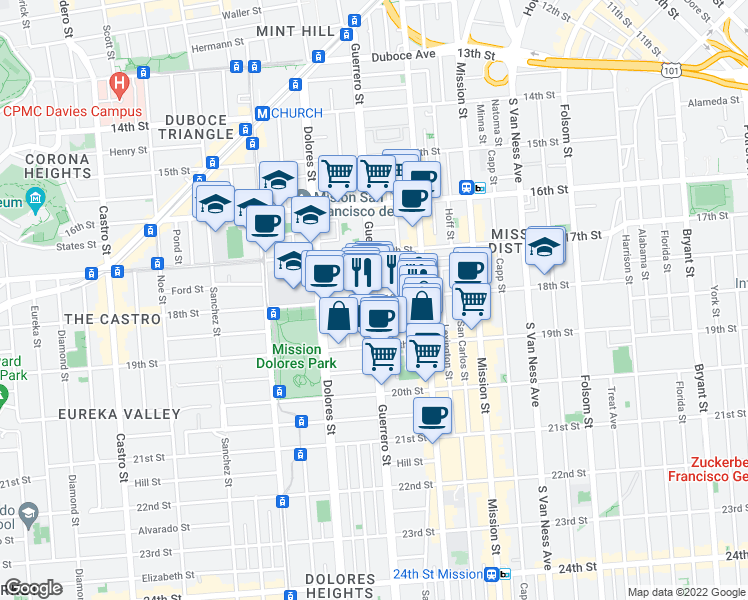 map of restaurants, bars, coffee shops, grocery stores, and more near Guerrero Street & 18th Street in San Francisco