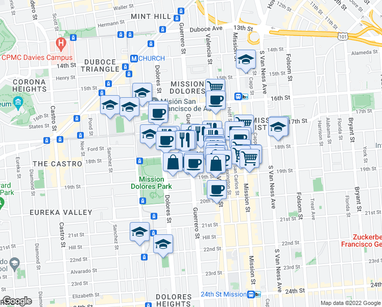 map of restaurants, bars, coffee shops, grocery stores, and more near Guerrero St & 18th St in San Francisco