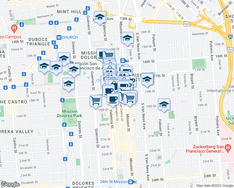 map of restaurants, bars, coffee shops, grocery stores, and more near 3454 18th Street in San Francisco