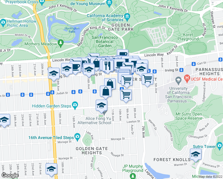 map of restaurants, bars, coffee shops, grocery stores, and more near Judah St & 11th Ave in San Francisco