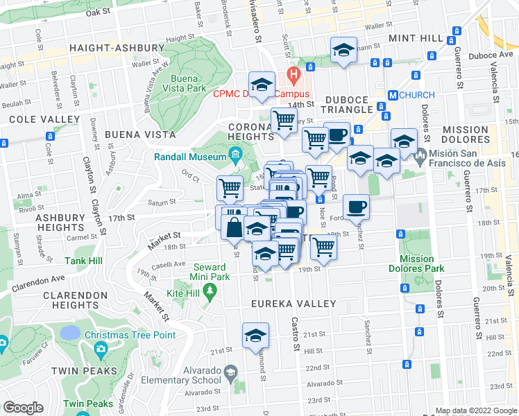 map of restaurants, bars, coffee shops, grocery stores, and more near 17th Street in San Francisco