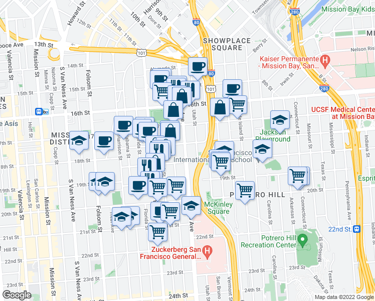 map of restaurants, bars, coffee shops, grocery stores, and more near 509 Potrero Avenue in San Francisco