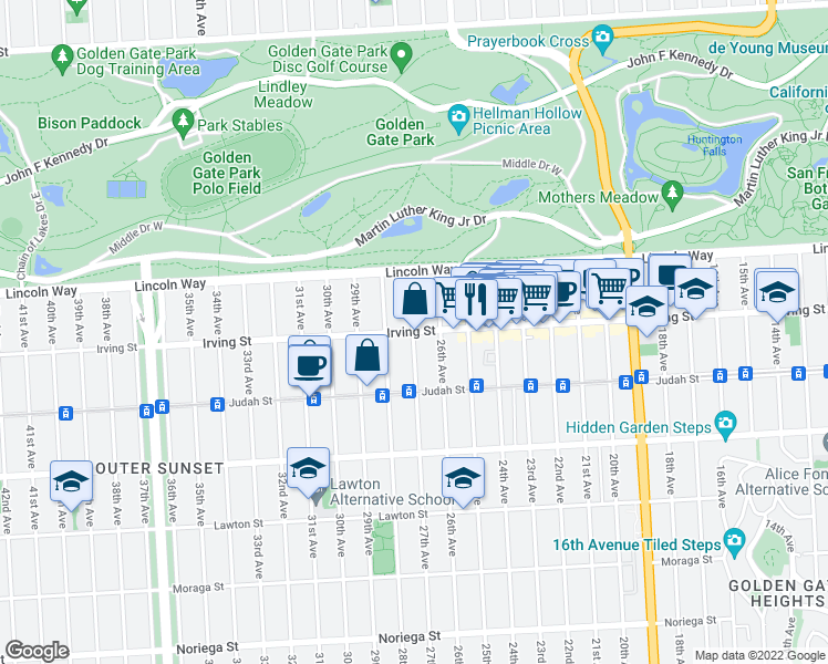 map of restaurants, bars, coffee shops, grocery stores, and more near Irving Street & 27th Avenue in San Francisco