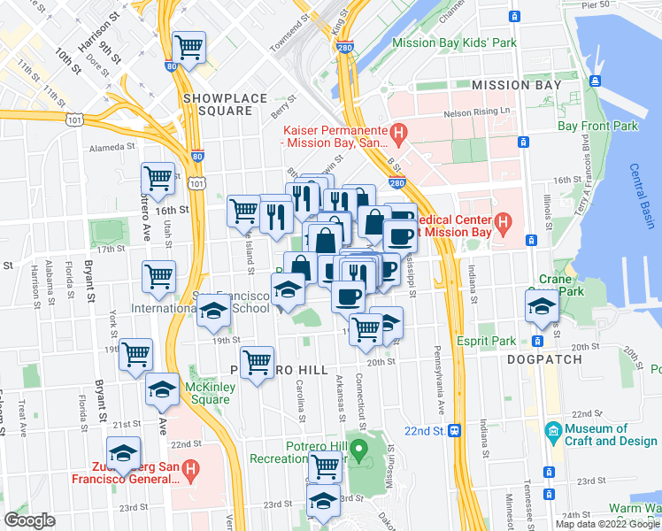 map of restaurants, bars, coffee shops, grocery stores, and more near Mariposa St & Arkansas St in San Francisco