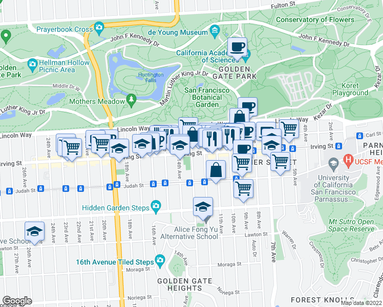 map of restaurants, bars, coffee shops, grocery stores, and more near Irving St & Funston Ave in San Francisco
