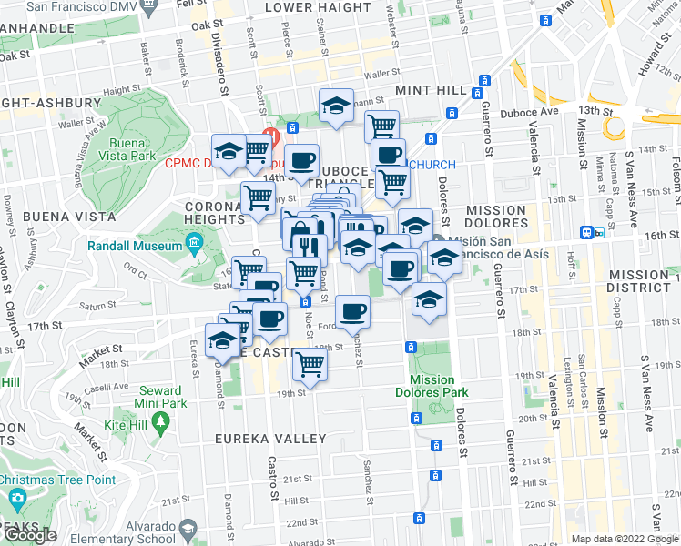 map of restaurants, bars, coffee shops, grocery stores, and more near 25 Prosper Street in San Francisco