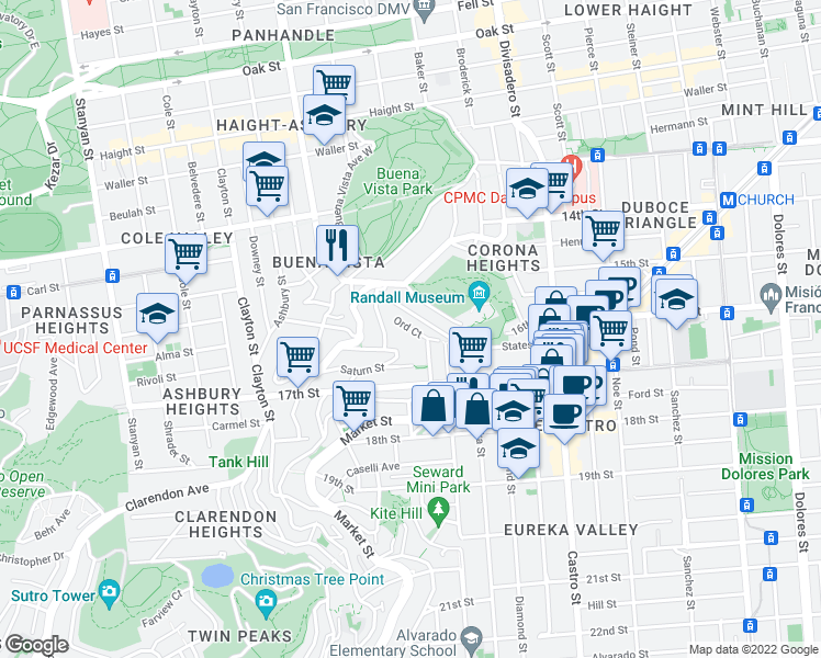 map of restaurants, bars, coffee shops, grocery stores, and more near 35 Ord Ct in San Francisco