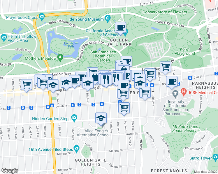 map of restaurants, bars, coffee shops, grocery stores, and more near Irving Street & 11th Avenue in San Francisco