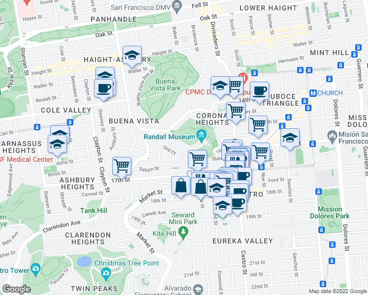 map of restaurants, bars, coffee shops, grocery stores, and more near 214 States Street in San Francisco