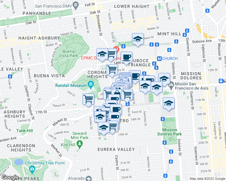 map of restaurants, bars, coffee shops, grocery stores, and more near 299 Castro Street in San Francisco
