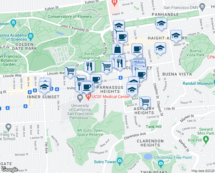 map of restaurants, bars, coffee shops, grocery stores, and more near 306 Parnassus Avenue in San Francisco