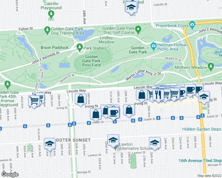 map of restaurants, bars, coffee shops, grocery st