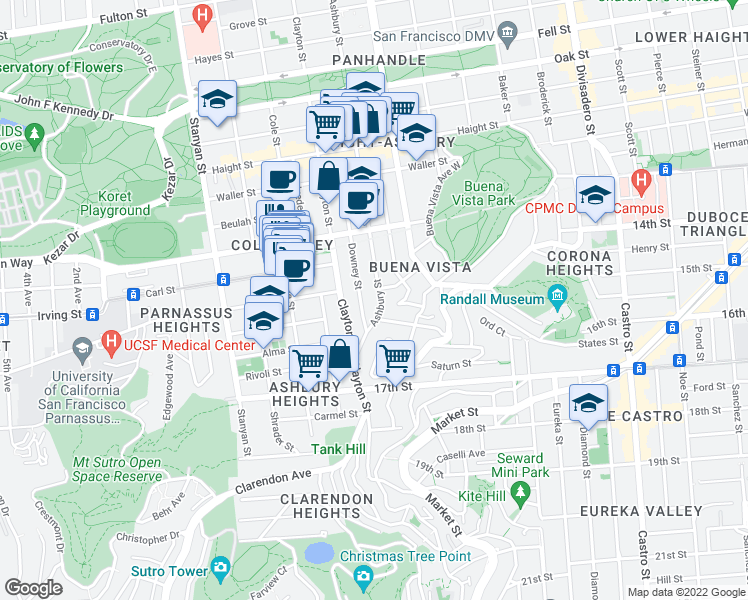 map of restaurants, bars, coffee shops, grocery stores, and more near 949 Ashbury Street in San Francisco