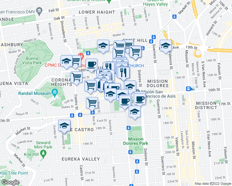 map of restaurants, bars, coffee shops, grocery stores, and more near 76 Sharon St in San Francisco