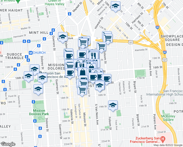 map of restaurants, bars, coffee shops, grocery stores, and more near 2911 16th Street in San Francisco