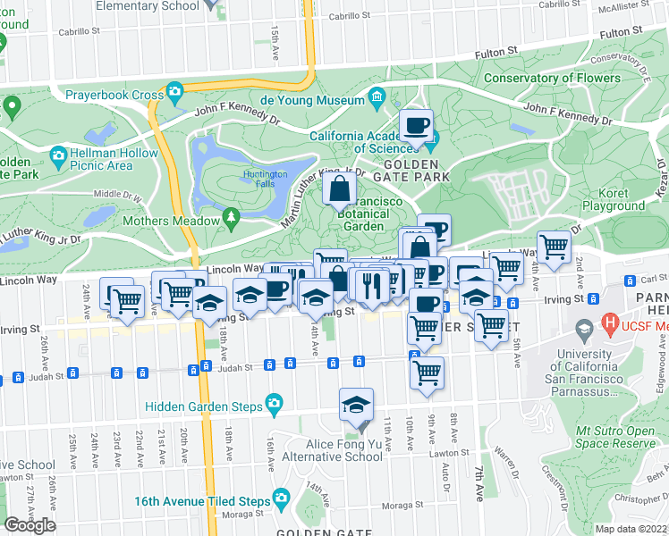 map of restaurants, bars, coffee shops, grocery stores, and more near 1206 Funston Avenue in San Francisco