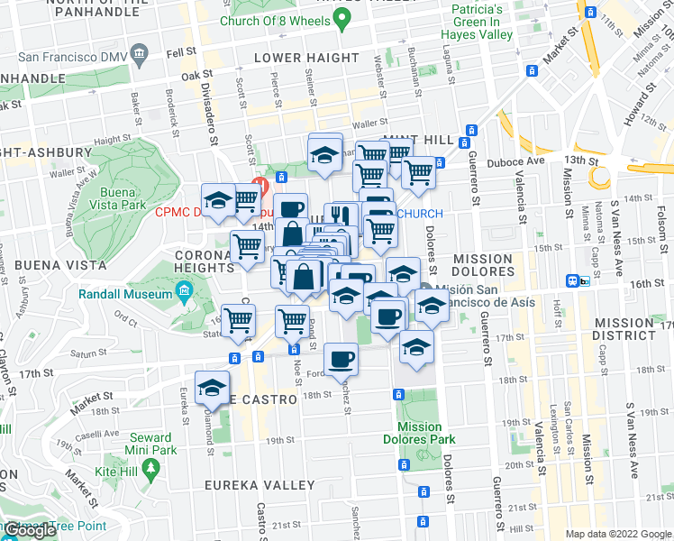 map of restaurants, bars, coffee shops, grocery stores, and more near Market St & Sanchez St in San Francisco