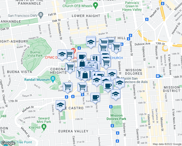 map of restaurants, bars, coffee shops, grocery stores, and more near 2200 Market Street in San Francisco