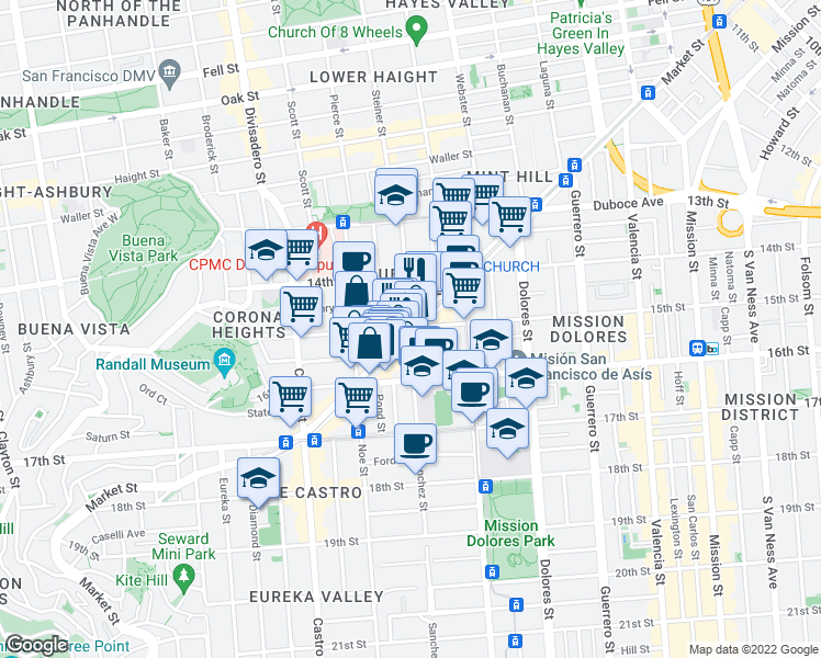 map of restaurants, bars, coffee shops, grocery stores, and more near 181 Sanchez Street in San Francisco