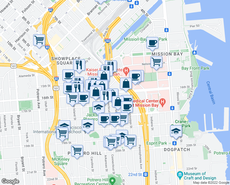 map of restaurants, bars, coffee shops, grocery stores, and more near 1010 16th Street in San Francisco