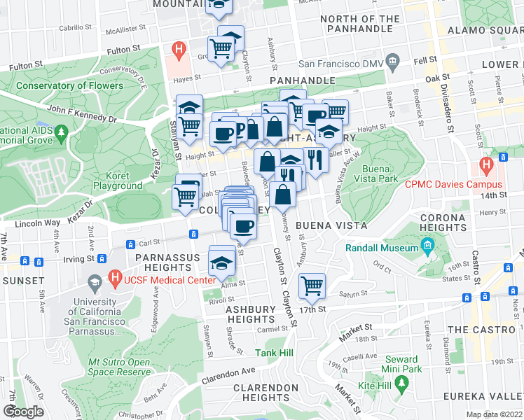 map of restaurants, bars, coffee shops, grocery stores, and more near 319 Frederick Street in San Francisco