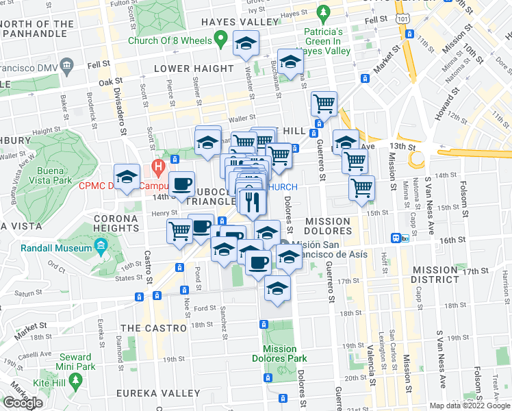 map of restaurants, bars, coffee shops, grocery stores, and more near 235 Church Street in San Francisco