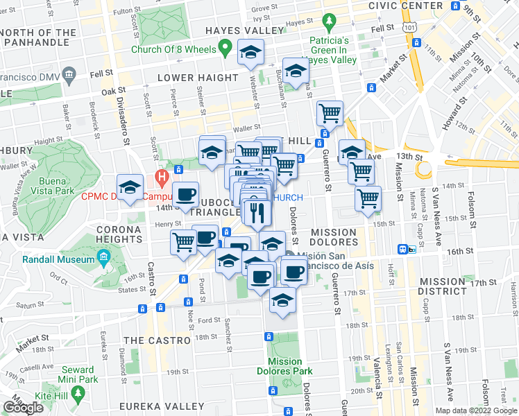 map of restaurants, bars, coffee shops, grocery stores, and more near 2097 Market Street in San Francisco