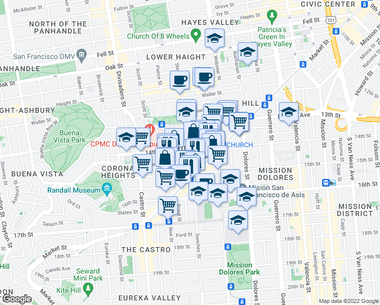 map of restaurants, bars, coffee shops, grocery stores, and more near 106 Sanchez Street in San Francisco