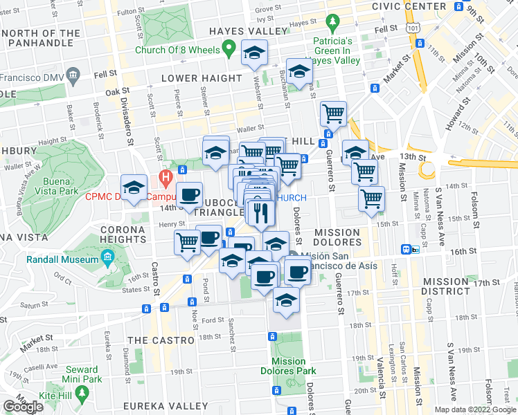 map of restaurants, bars, coffee shops, grocery stores, and more near Market St & Church St in San Francisco