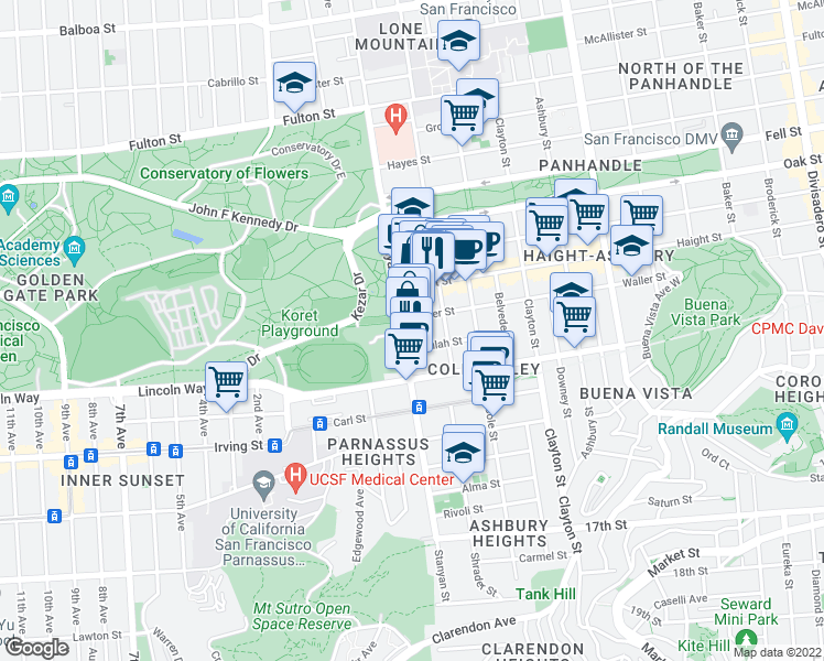 map of restaurants, bars, coffee shops, grocery stores, and more near 770 Stanyan Street in San Francisco