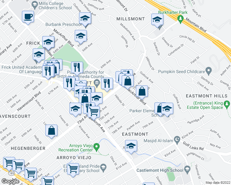 map of restaurants, bars, coffee shops, grocery stores, and more near 2700 73rd Ave in Oakland