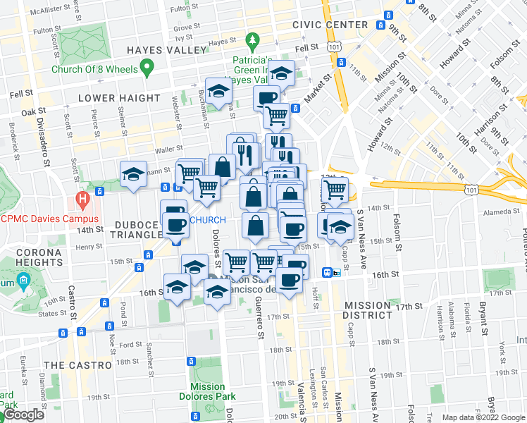 map of restaurants, bars, coffee shops, grocery stores, and more near 470 14th Street in San Francisco