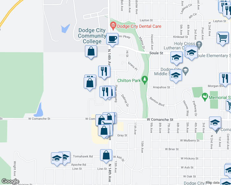 map of restaurants, bars, coffee shops, grocery stores, and more near Barham Boulevard in Dodge City