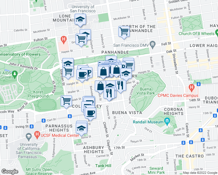 map of restaurants, bars, coffee shops, grocery stores, and more near 1401 Waller Street in San Francisco