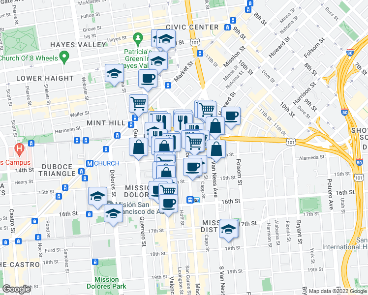 map of restaurants, bars, coffee shops, grocery stores, and more near 1760 Mission Street in San Francisco