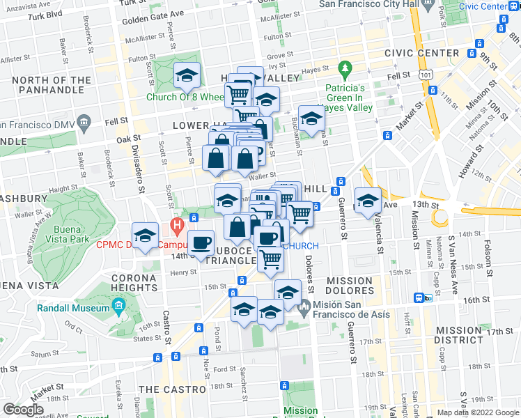 map of restaurants, bars, coffee shops, grocery stores, and more near 400 Duboce Avenue in San Francisco