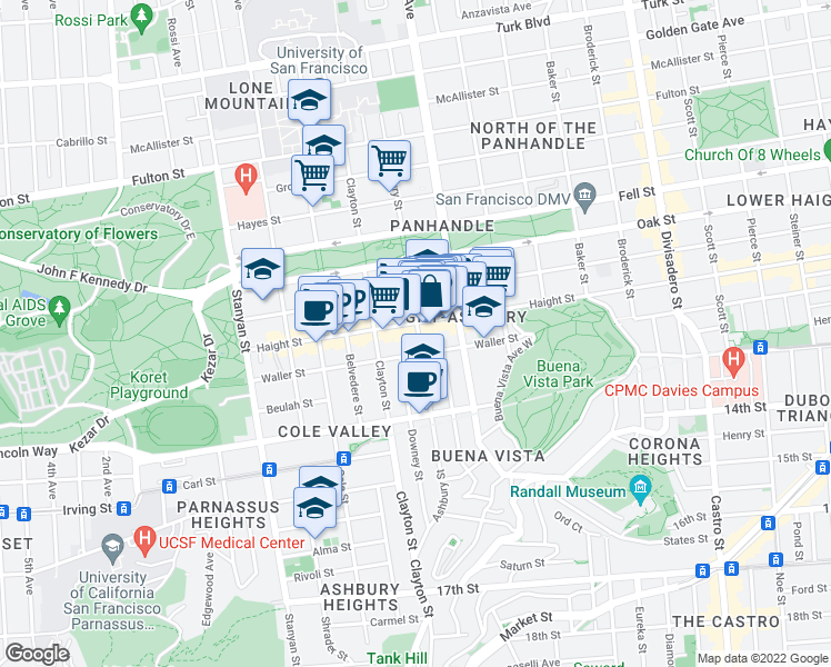 map of restaurants, bars, coffee shops, grocery stores, and more near 609 Ashbury Street in San Francisco