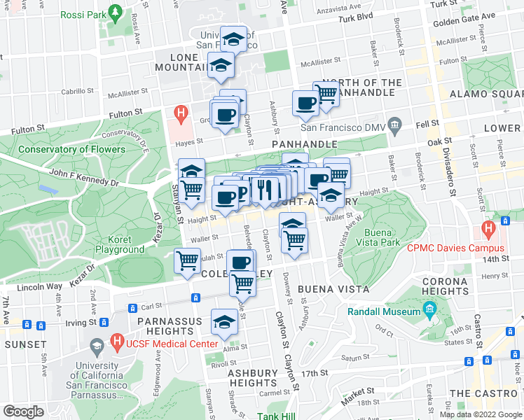 map of restaurants, bars, coffee shops, grocery stores, and more near Haight St & Clayton St in San Francisco