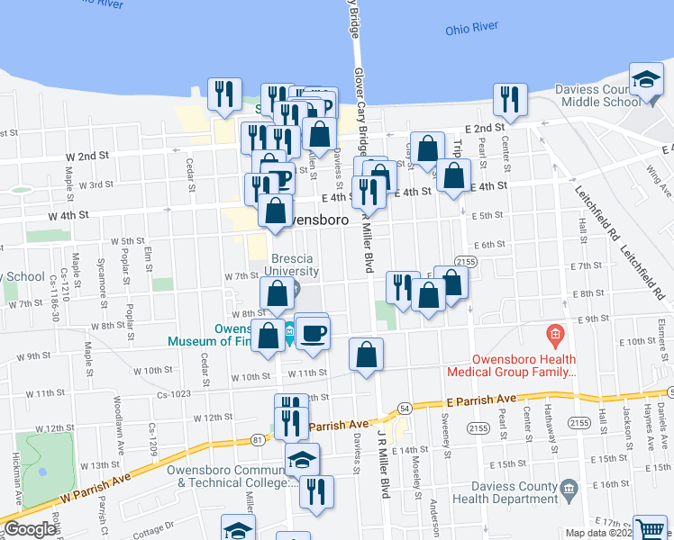 map of restaurants, bars, coffee shops, grocery stores, and more near 625 Daviess Street in Owensboro