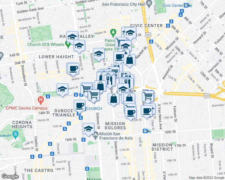 map of restaurants, bars, coffee shops, grocery stores, and more near 65 Guerrero Street in San Francisco