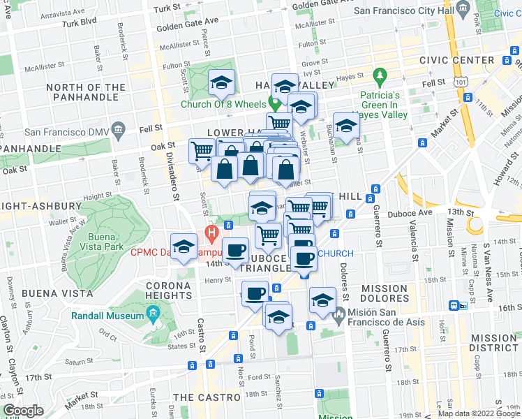map of restaurants, bars, coffee shops, grocery stores, and more near Steiner St & Hermann St in San Francisco