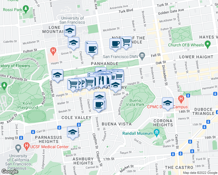 map of restaurants, bars, coffee shops, grocery stores, and more near Haight Street in San Francisco