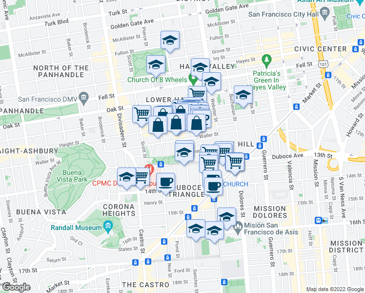 map of restaurants, bars, coffee shops, grocery stores, and more near Steiner Street & Germania Street in San Francisco
