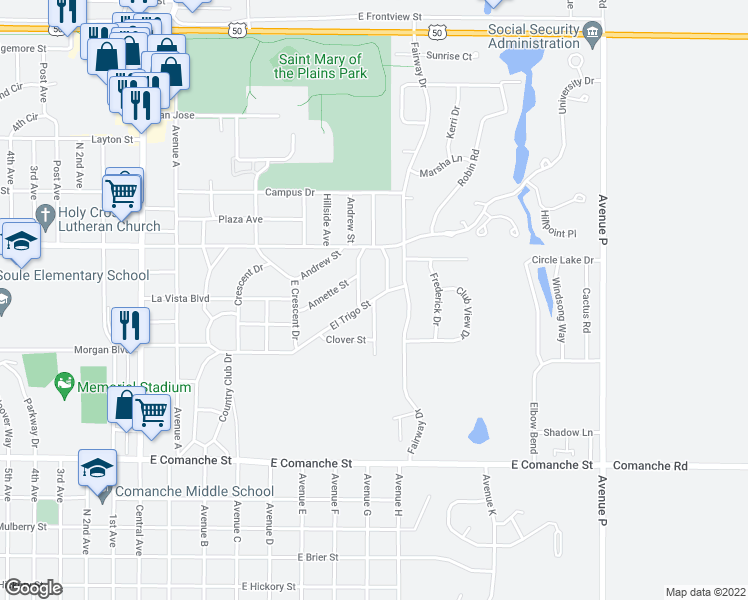map of restaurants, bars, coffee shops, grocery stores, and more near East Lane Avenue in Dodge City