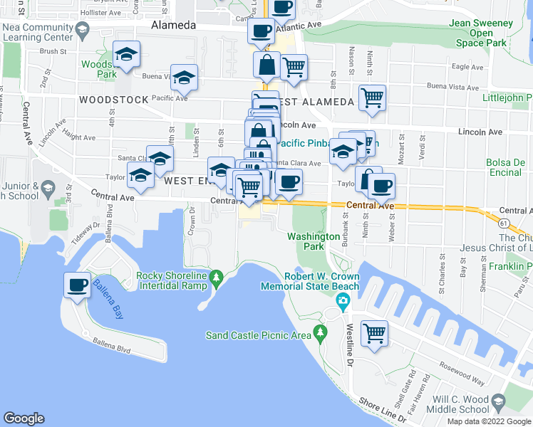 map of restaurants, bars, coffee shops, grocery stores, and more near 129 Crolls Garden Ct in Alameda
