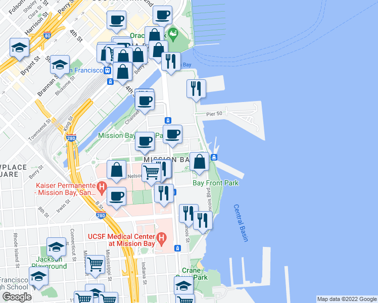 map of restaurants, bars, coffee shops, grocery stores, and more near 420 Mission Bay Boulevard North in San Francisco