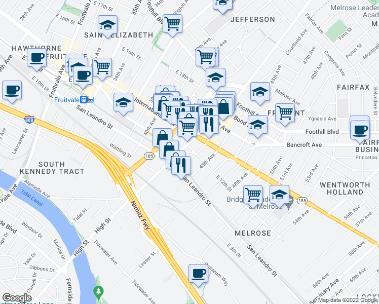 map of restaurants, bars, coffee shops, grocery stores, and more near East 12th Street in Oakland