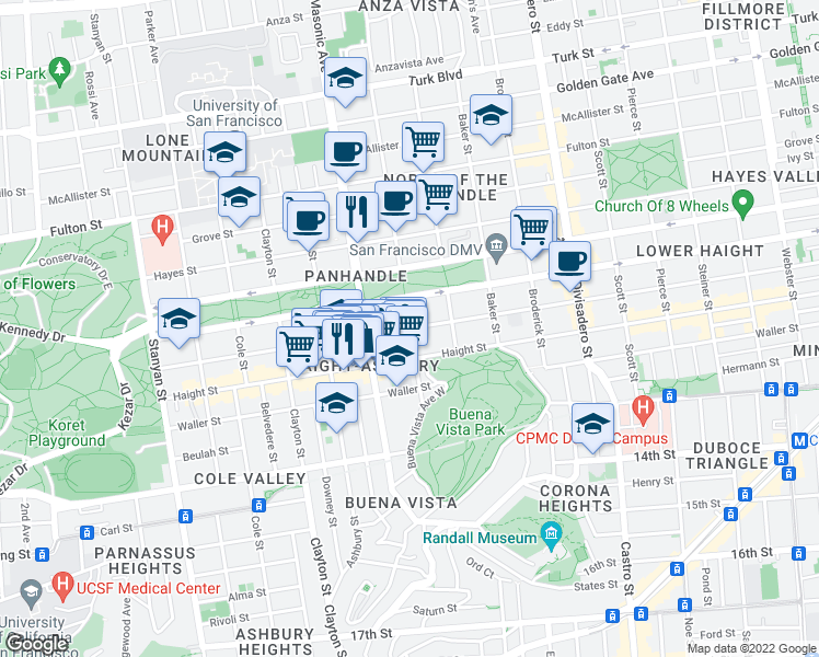 map of restaurants, bars, coffee shops, grocery stores, and more near Page St & Central Ave in San Francisco
